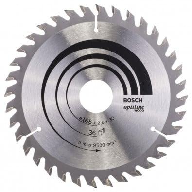 Bosch Kreissägeblatt Optiline Wood für Handkreissägen 165x30x2,6 mm 36T WZ - 2608640603