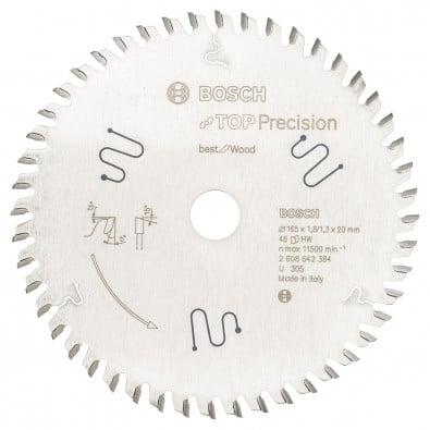 Bosch Kreissägeblatt Top Precision Best for Wood, 165 x 20 x 1,8 mm, 48 - 2608642384