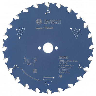 Bosch Kreissägeblatt Expert for Wood 180x20x2.6/1.6x24T - 2608644029