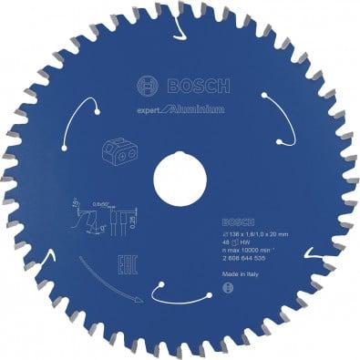 Bosch Kreissägeblatt Expert for Aluminium für Akkusägen, 136x1,6/1x20, 48Zähne - 2608644535