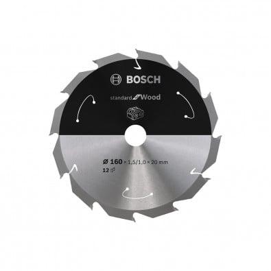 Bosch Kreissägeblatt Standard for Wood, 160x1,5/1x20, 12Zähne - 2608837675