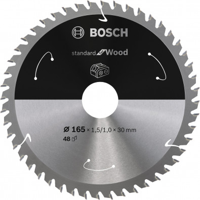 Bosch Kreissägeblatt Standard for Wood, 165x1,5/1,0x30, 48Zähne - 2608837689