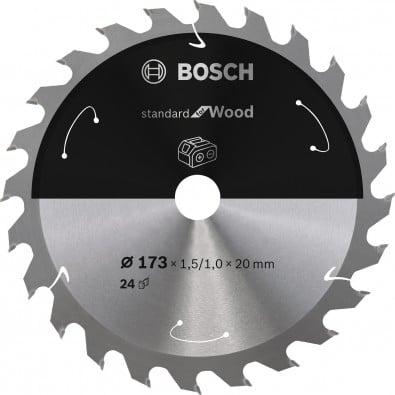 Bosch Kreissägeblatt für Akkusägen Standard for Wood, 173x1,5/1,0x20, 24Zähne - 2608837690