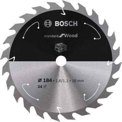 Bosch Kreissägeblatt Standard for Wood, 184x1,6/1,1x16, 24Zähne - 2608837698