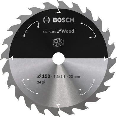 Bosch Kreissägeblatt Standard for Wood, 190x1,6/1,1x20, 24Zähne - 2608837704
