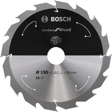 Bosch Kreissägeblatt Standard for Wood, 190x1,6/1,1x30, 16Zähne - 2608837706