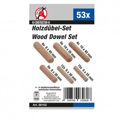 BGS 54-tlg. Regalbodenträger/Holzdübel-Sortiment - 88158