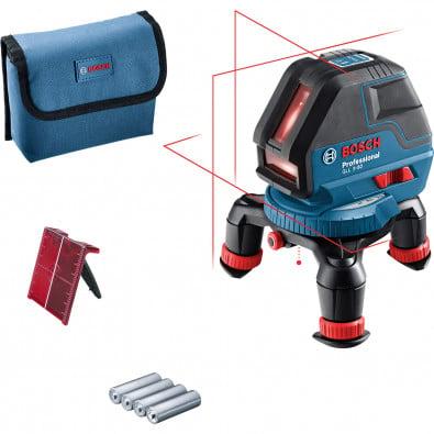Bosch Linienlaser GLL 3-50 / 4x 1,5 V-LR6-Batterie inkl. Laserzieltafel in Tasche - 0601063800