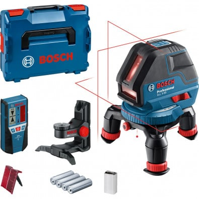 Bosch Linienlaser GLL 3-50 / 1x 9 V-Blockbatterie + 4x 1,5 V-LR6-Batterie inkl. LR2 + BM1 + Laserzieltafel in L-Boxx - 0601063803