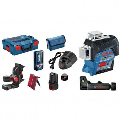 Bosch Linienlaser GLL 3-80 C 12 V / 1x 2,0 Ah Akku + Ladegerät inkl. Zubehör-Set in L-Boxx - 0601063R05
