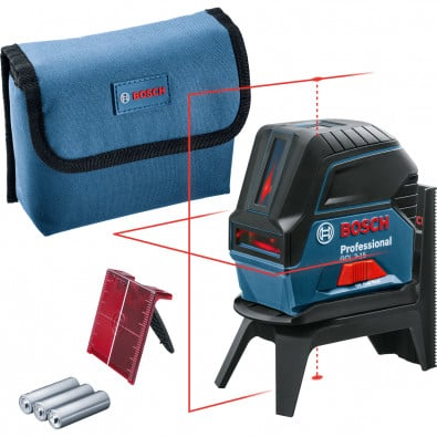 Bosch Kombilaser GCL 2-15 / 3x 1,5 V-LR6-Batterie inkl. RM 1 + Laserzieltafel in Tasche - 0601066E00