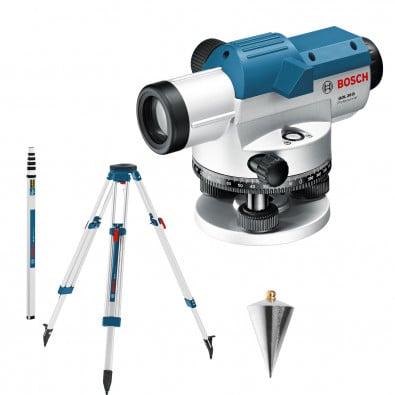 Bosch optisches Nivelliergerät GOL 26 D mit Baustativ BT 160 + Messstab GR 500 in Handwerkerkoffer - 0601068002