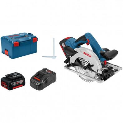 Bosch Akku-Handkreissäge GKS 18V-57 G / 2 x 5,0 Ah Akku + Ladegerät in L-Boxx - 06016A2100