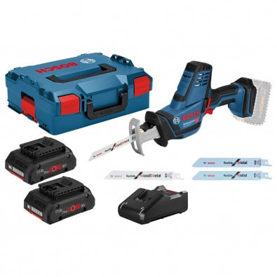 Bosch Akku-Säbelsäge GSA 18V-LI Compact 18 V / 2x 4,0 Ah ProCORE18V Akku + Ladegerät inkl. Zubehör-Set in L-Boxx
