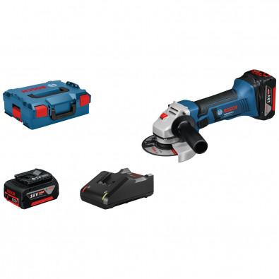 Bosch Akku-Winkelschleifer GWS 18-125 V-LI / 2x 4,0 Ah Akku + Ladegerät in L-Boxx - 060193A30Y