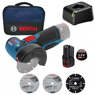 Bosch Akku-Winkelschleifer GWS 12V-76 12 V / 1x 3,0 Ah Akku + Ladegerät im Softbag