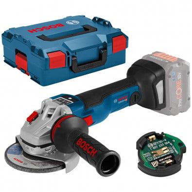 Bosch Akku-Winkelschleifer GWS 18V-10 SC Solo inkl. Bluetooth Low Energy Modul GCY 30-4 in L-Boxx - 06019G340B
