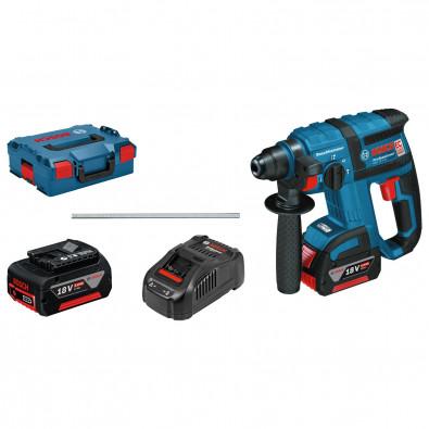 Bosch Akku-Bohrhammer GBH 18V-EC mit SDS plus / 2x 5,0 Ah Akku + Ladegerät inkl. Zubehör-Set in L-Boxx - 061190400F