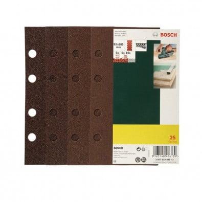 Bosch Schleifblatt-Set für Schwingschleifer 25tlg. 8 Löcher 93 x 185 mm Körnung 40-120 - 2607019495