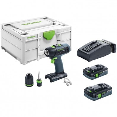 Festool Akku-Bohrschrauber T 18+3 HPC 4,0 I-Plus 18 V / 2x 4,0 Ah Akku + Ladegerät inkl. Zubehör-Set in Systainer - 576446