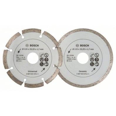 Bosch 2x Diamanttrennscheiben für Fliesen und Baumaterial, Durchmesser: 115 mm - 2607019478
