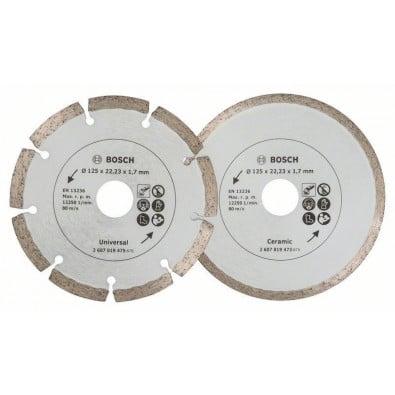 Bosch 2x Diamanttrennscheiben für Fliesen und Baumaterial, Durchmesser: 125 mm - 2607019484