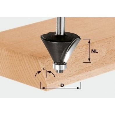 Festool Fasefräser HW Schaft 8 mm HW S8 D25,7/25,7/15°