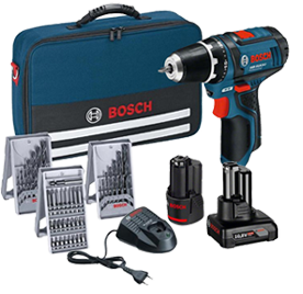 Bosch Akku-Bohrschrauber GSR 10,8-2-LI + 1x 2,0 Ah & 1x 4,0 Ah Akku im Softbag + Bit- und Bohrer-Sets 0615990G6L